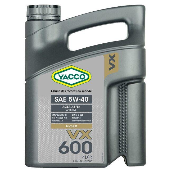 Масло Yacco VX 600 5W40 4л для экстремальных условий